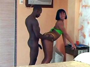 Pretty shemale seduces and blows hot black guy