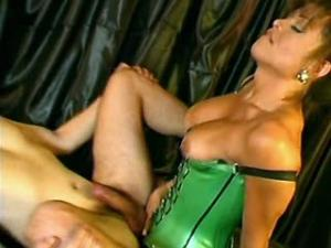 Gorgeous tranny nails guy hard and blows her load