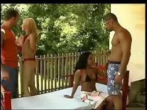 Depraved trannies and lewd dude have orgy outdoors