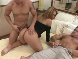 Blonde shemale sucks cock and fucks with two men