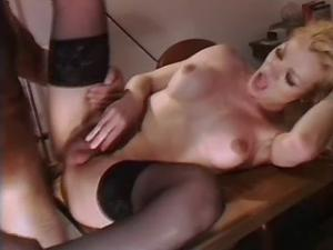 Shemale in stockings and with big cock fucking