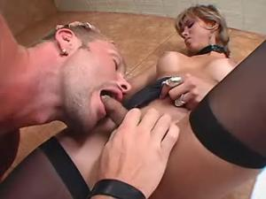 Blond shemale in stockings takes big cock in ass