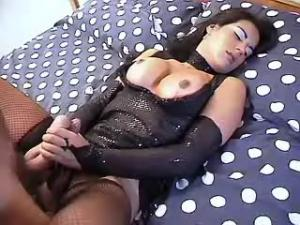 Yummy shemale gets hot cum jet on her sexy belly