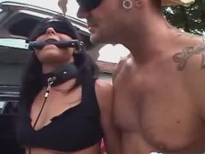Lovely shemales and dude seducing girl outdoor