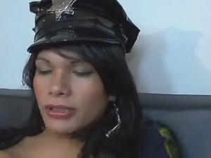 Horny slave guy humilated by pretty police shemale