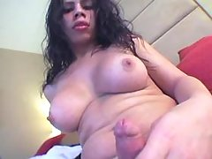 Brunette cutie shemale plays w cock