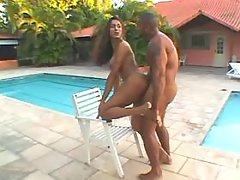 Nice tranny jumps on cock near pool