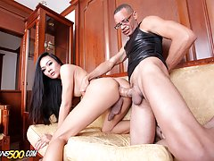 Rose gets her Asian TS ass tore up by Monstercock!