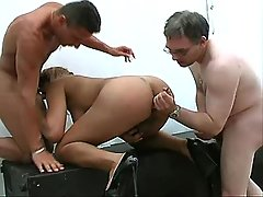 Shemale gets double cum in mouth