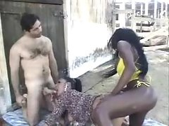 Two ethnic tgirls in orgy with dude