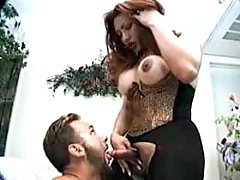 Shemale in sexy lingerie gets anal